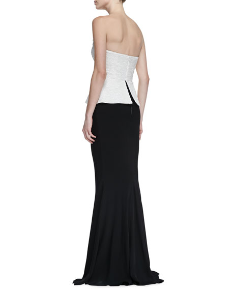 Strapless Peplum-Bodice Sequin Gown, Black/Ivory