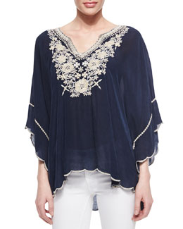 Johnny Was Collection Embroidered Georgette Poncho Tunic