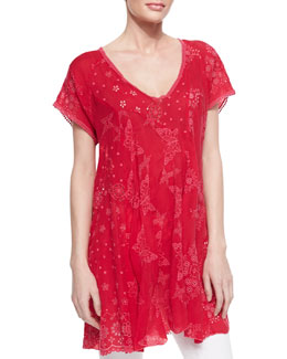 Johnny Was Collection V-Neck Patchwork Butterfly Tunic, Ruby