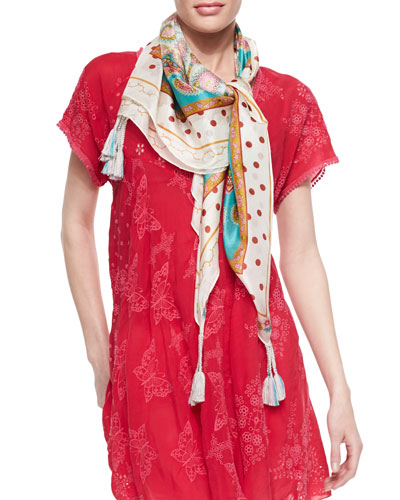 Johnny Was Collection Polka Dot Paisley Printed Silk Scarf