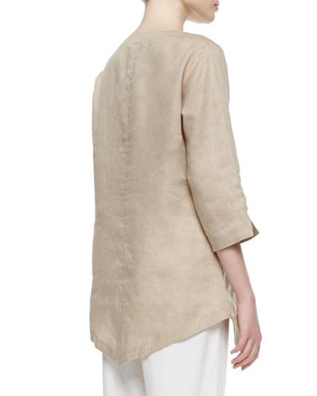 Linen Asymmetric Long Tunic, Petite
