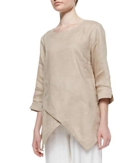 Linen Asymmetric Long Tunic, Petite