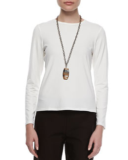 Eileen Fisher Long-Sleeve Jersey Tee, White, Petite
