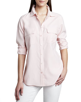 Go Silk Safari Long-Sleeve Silk Shirt, Petite