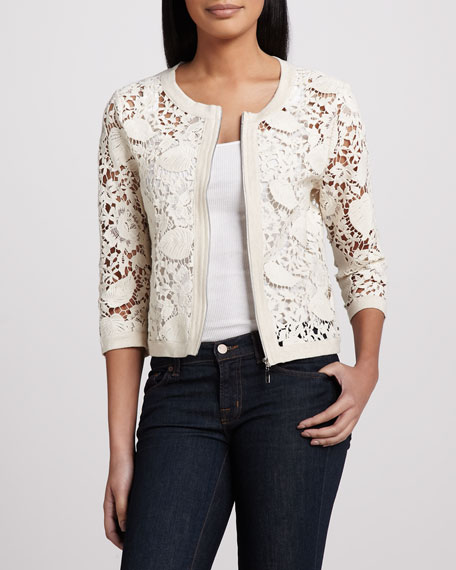 Crochet Zip-Front Cardigan, Women's