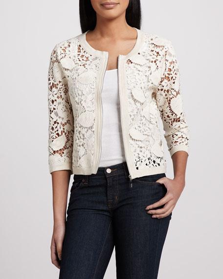 Crochet Zip-Front Cardigan