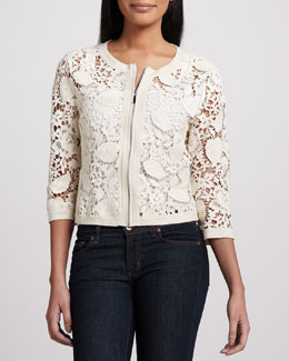 Michael Simon Crochet Zip-Front Cardigan