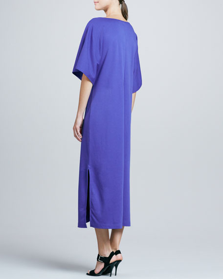 Keyhole-Front Long Dolman Dress