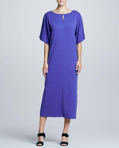 Joan Vass Keyhole-Front Long Dolman Dress