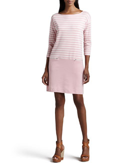 Joan Vass Striped Interlock Dress, Petite