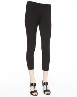 Joan Vass Cropped Leggings, Black