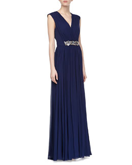 Badgley Mischka V-Neck Beaded Waist Gown