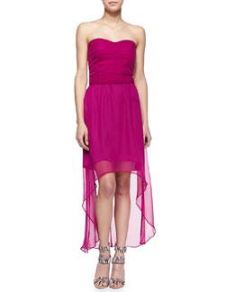 Cusp by Neiman Marcus Georgia Strapless Silk High-Low Dress, Bright Plum