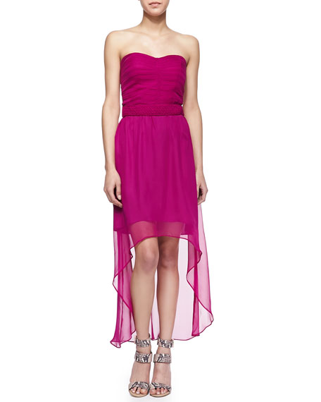 Georgia Strapless Silk High-Low Dress, Bright Plum