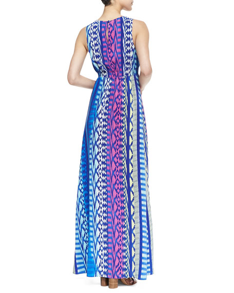 Jacy Lattice Ikat Print Maxi Dress