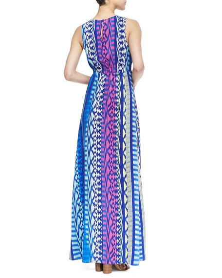 Jacy Lattice Ikat Print Maxi Dress