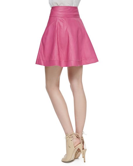 Leather Skater Skirt, Bright Pink