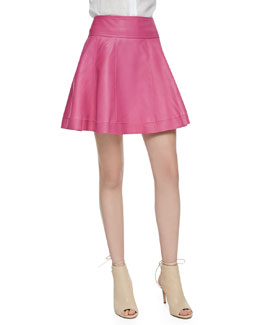 Cusp by Neiman Marcus Leather Skater Skirt, Bright Pink