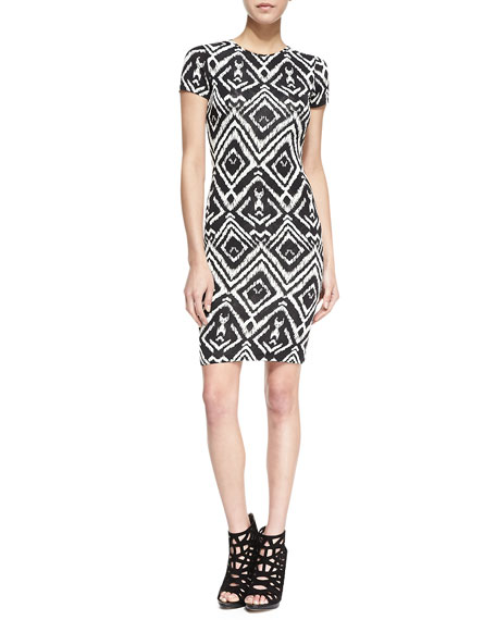 Short-Sleeve Diamond-Print Cutout Dress, Black/White