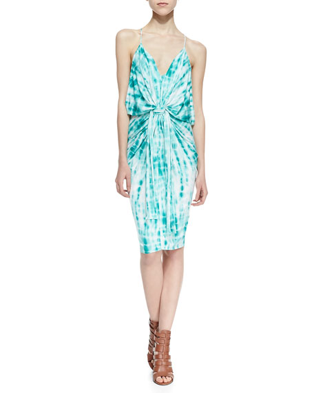 Tie-Dye Knotted Sheath Dress, Blue/White