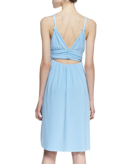 Ballet Cutout-Back Braided Dress, Light Blue