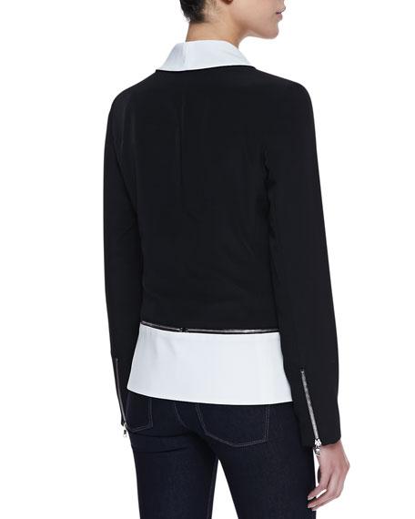 Zipper Detail Pony Blazer, Black/White