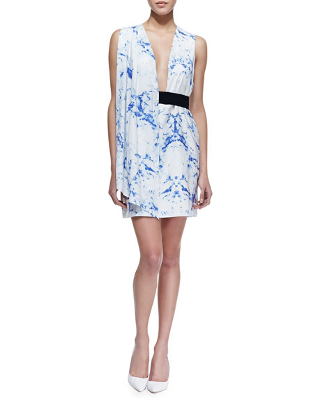Arena Marble Print Sleeveless Dress, Blue/White