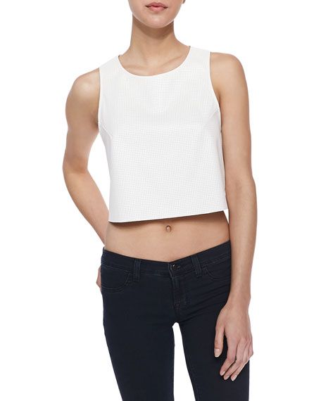 Faux Leather Perforated Crop Top, Ivory