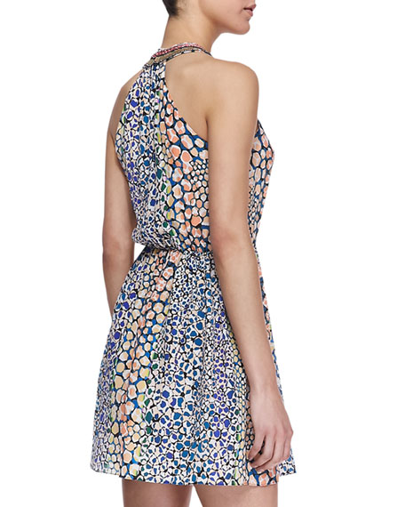 Printed Embellished-Neck Dress