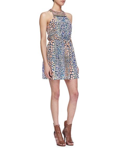 Printed Embellished-Neck Dress