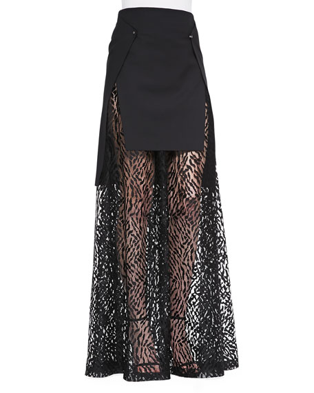 Warrior Solid/Lace Maxi Skirt