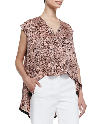 Cheetara Print Billowy Sleeveless Blouse, Coral