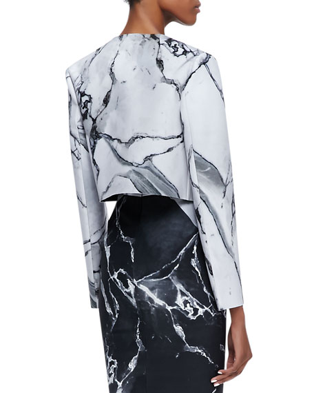 Carrara Open Front Marble Print Jacket, White/Black