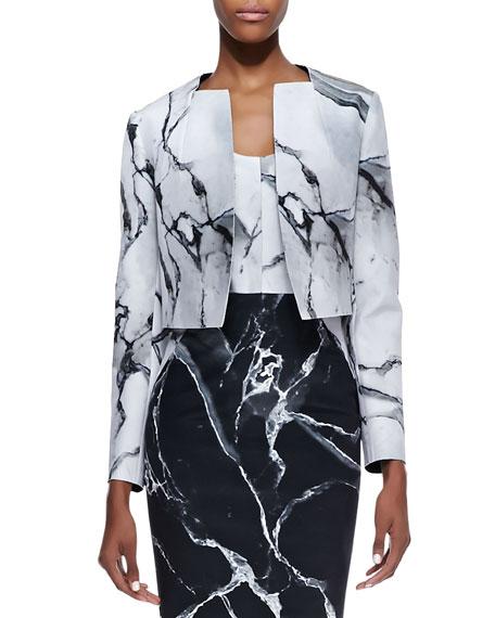 Carrara Open Front Marble Print Jacket, White/Black