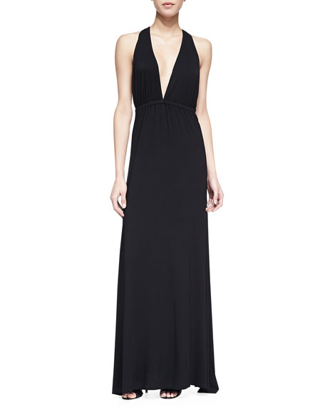 Tristan Plunging T-Strap Maxi Dress, Black
