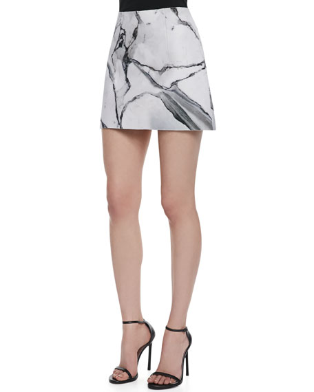 Carrara Marble-Print Short Skirt
