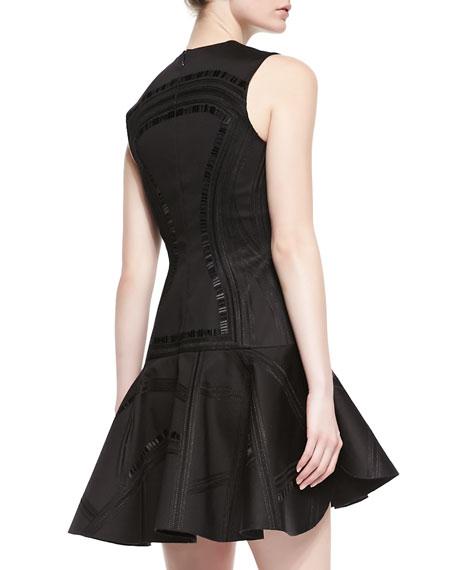 Kuba Embroidered Mesh Dress, Black