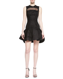 Robert Rodriguez Kuba Embroidered Mesh Dress, Black