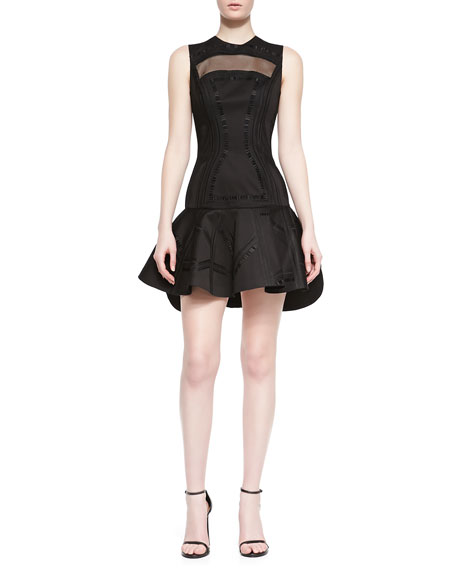 Kuba Embroidered Mesh Dress, Black