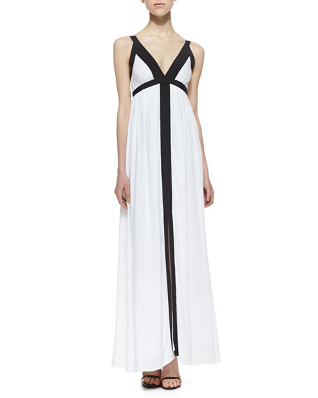 Two-Tone Slit Maxi Dress