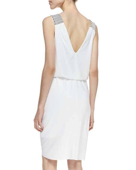 Knotted-Front Woven-Trim Dress, White