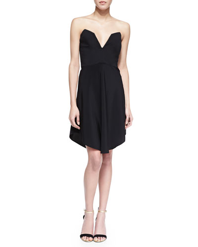 Chalk Strapless Deep Sweetheart Open-Back Dress