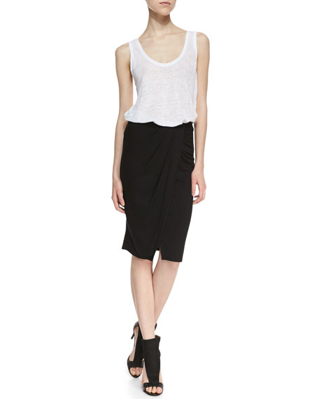 Tali Wrap Front Stretch Knit Skirt, Black