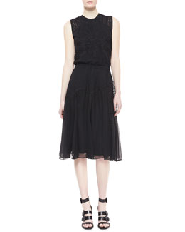 Catherine Deane Ondrea Sleeveless Eyelet & Embroidered Dress, Black
