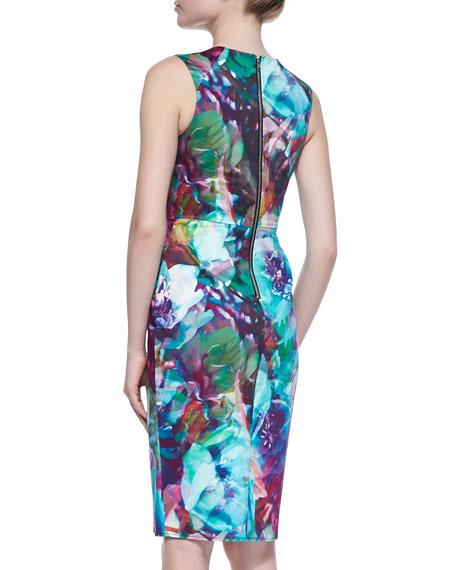 Mosaic Hues Sleeveless Sheath Dress