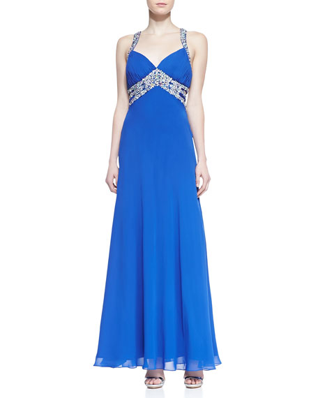 Beaded Halter Open-Back Gown, Royal Blue