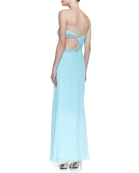 Strapless Beaded Cutout Side Gown, Seafoam