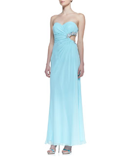 Faviana Strapless Beaded Cutout Side Gown, Seafoam