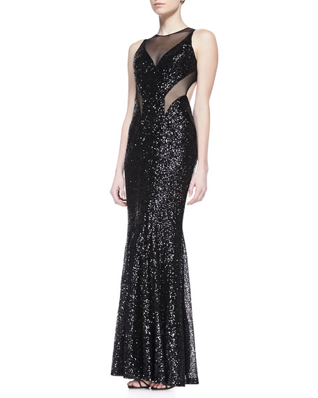 Sleeveless Sequined Mesh Gown with Cutout Back, Black