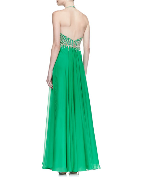 Beaded Bodice Halter Gown, Green Envy